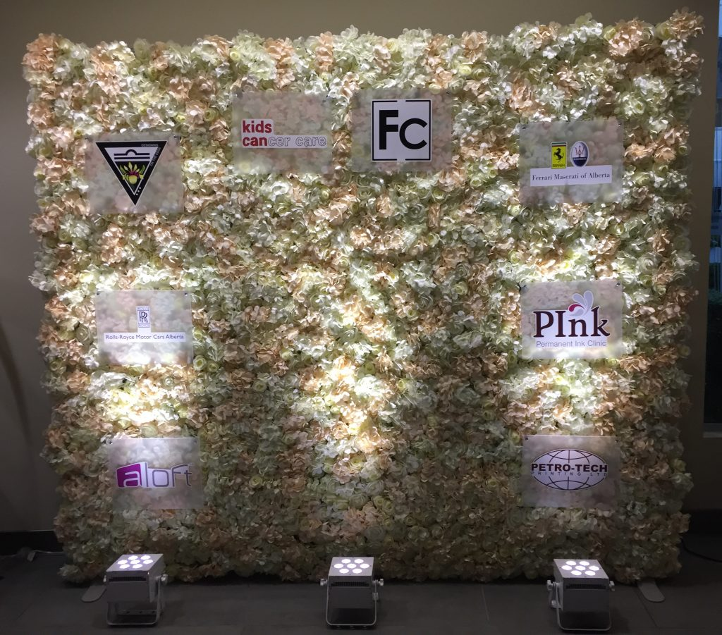 Tranquility Flower Wall as the Media Wall for Fashion Calgary's 2016 Gala