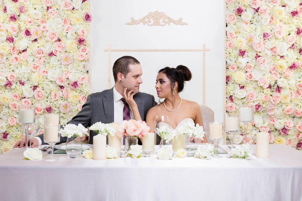 Eternal Spring Flower Wall x Bride & Groom at Head Table