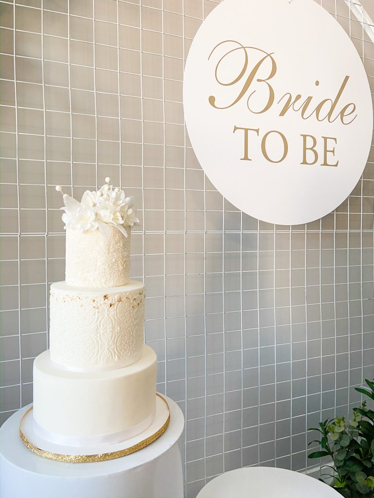 Mesh Backdrop with Bride To Be Sign & Cake