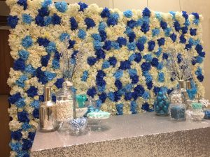 Azure Bliss Flower Wall & Sweet Table Design for Birthday Party