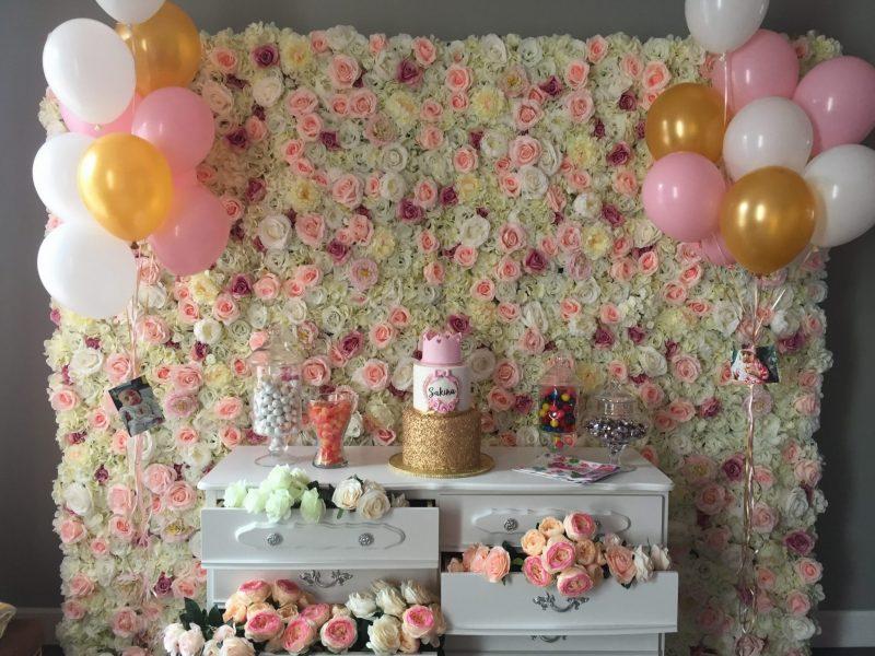 Eternal Spring Flower Wall x Sakina's First Birthday Cake Table