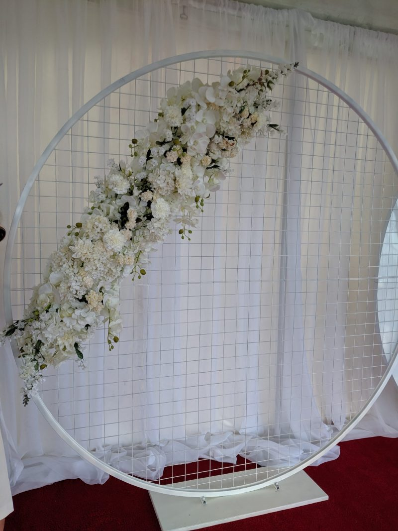 Mesh Backdrop with Custom Ivory Floral