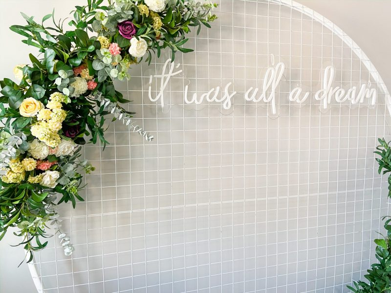 Mesh Backdrop with Neon Sign